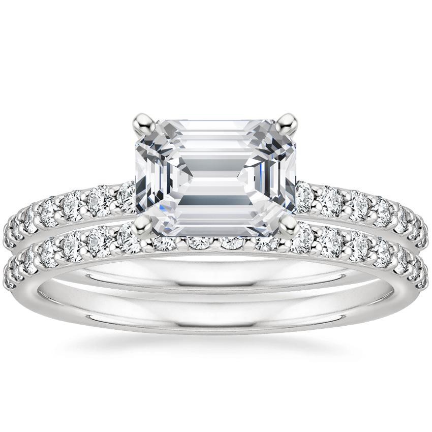 18K White Gold Horizontal Petite Shared Prong Diamond Ring (1/4 ct. tw.) with Petite Shared Prong Diamond Ring (1/4 ct. tw.)