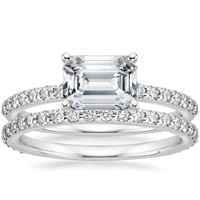 18K White Gold Horizontal Petite Shared Prong Diamond Ring (1/4 ct. tw.) with Luxe Petite Shared Prong Diamond Ring (3/8 ct. tw.)