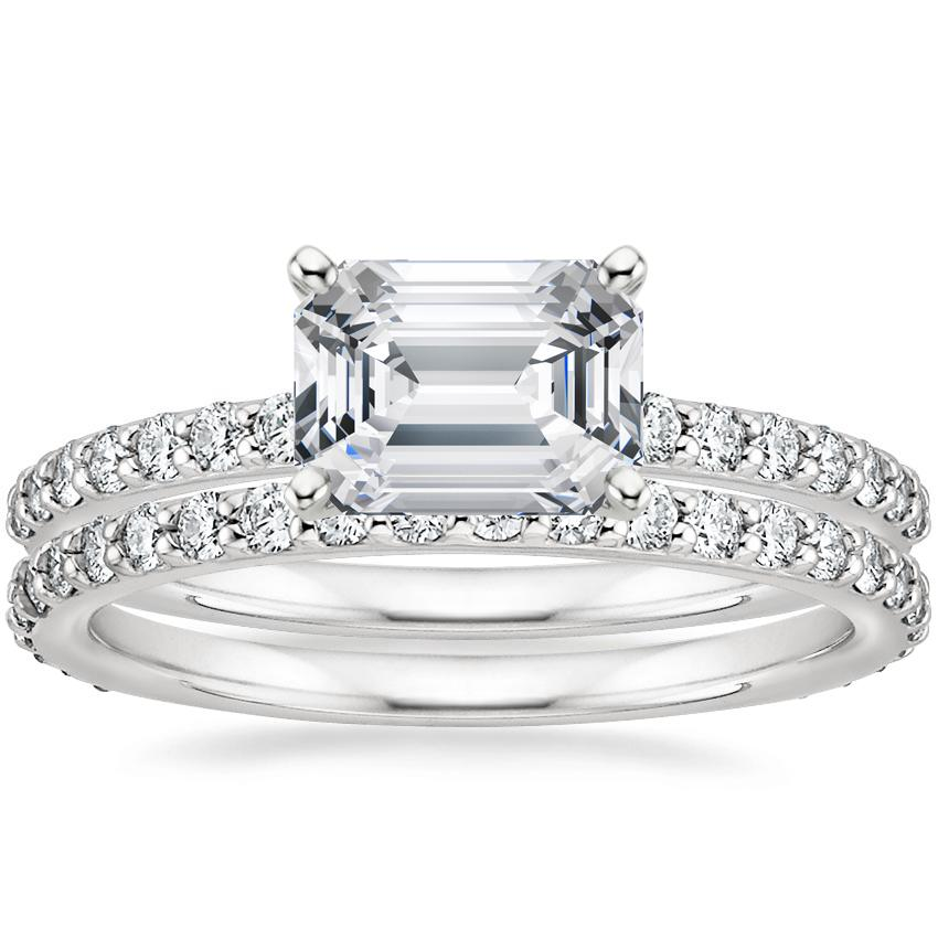18K White Gold Horizontal Petite Shared Prong Diamond Ring (1/4 ct. tw.) with Petite Shared Prong Eternity Diamond Ring (1/2 ct. tw.)