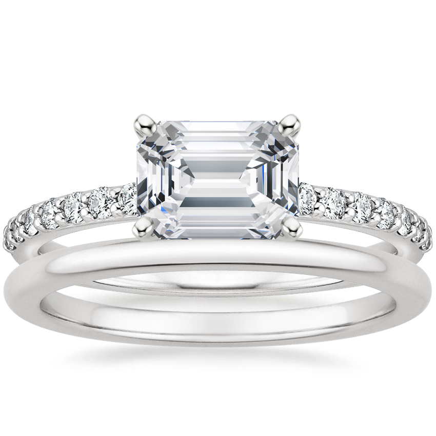 18K White Gold Horizontal Petite Shared Prong Diamond Ring (1/4 ct. tw.) with Petite Comfort Fit Wedding Ring