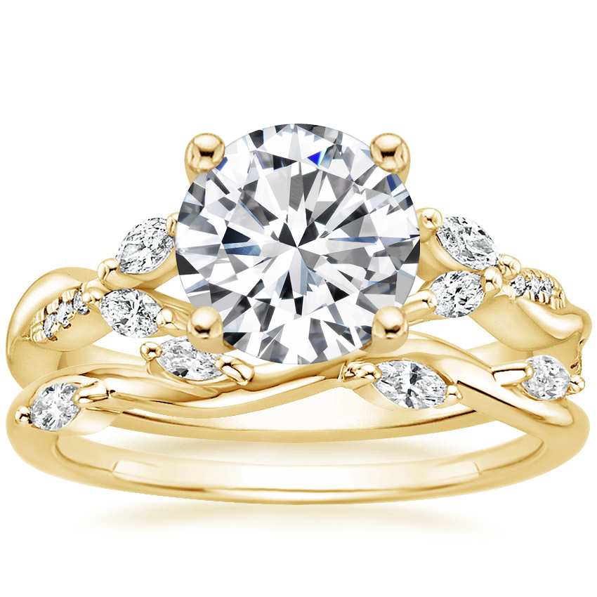 18K Yellow Gold Cassia Diamond Ring with Winding Willow Diamond Ring (1/8 ct. tw.)