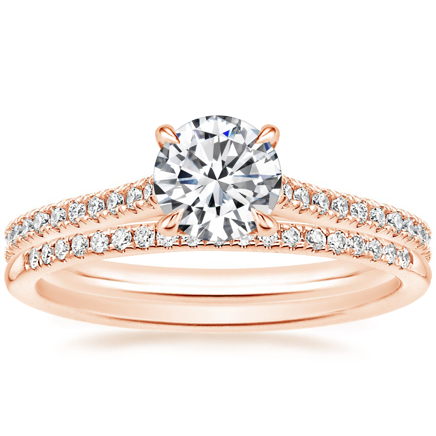 14K Rose Gold Luxe Lissome Diamond Ring (1/5 ct. tw.) with Whisper Diamond Ring (1/10 ct. tw.)