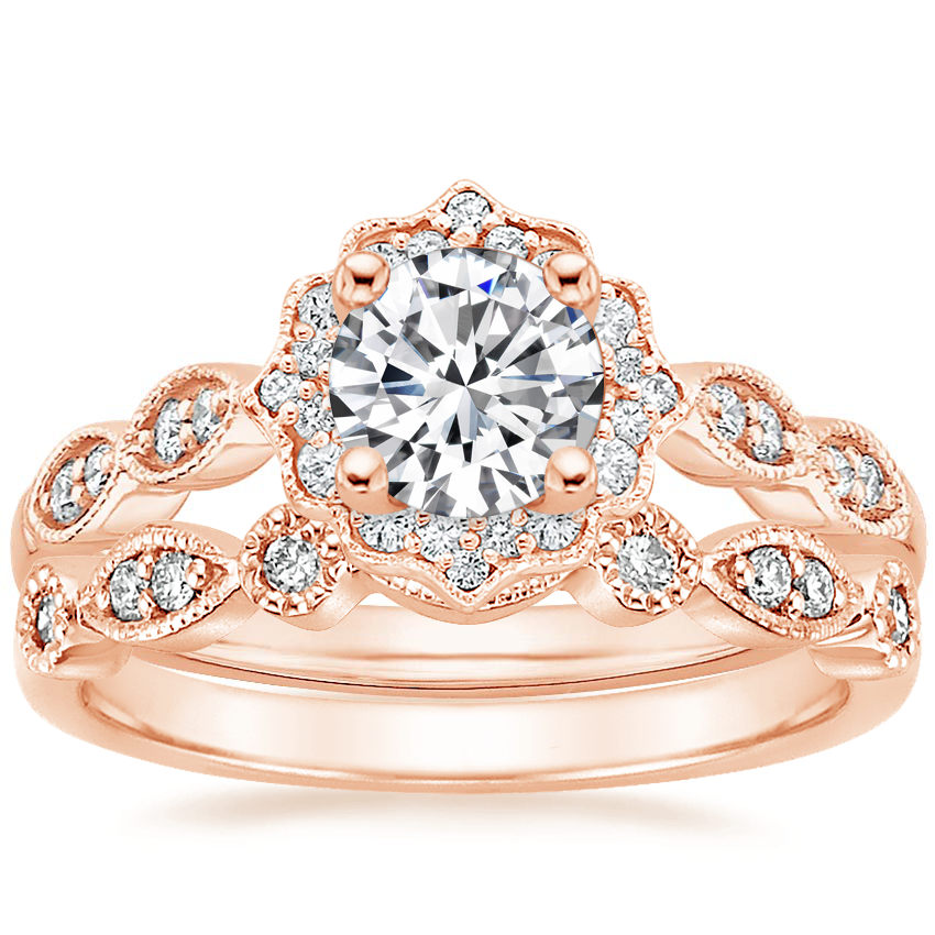 14K Rose Gold Cadenza Halo Diamond Ring with Tiara Diamond Ring (1/10 ct. tw.)