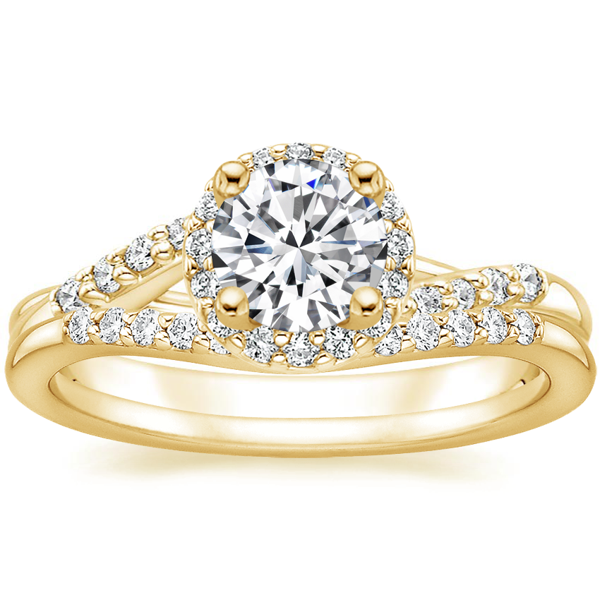 18K Yellow Gold Chamise Halo Diamond Ring (1/5 ct. tw.) with Petite Curved Diamond Ring (1/10 ct. tw.)