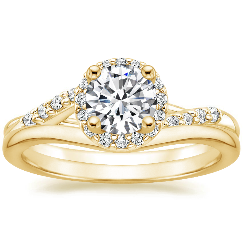 18K Yellow Gold Chamise Halo Diamond Ring (1/5 ct. tw.) with Petite Curved Wedding Ring
