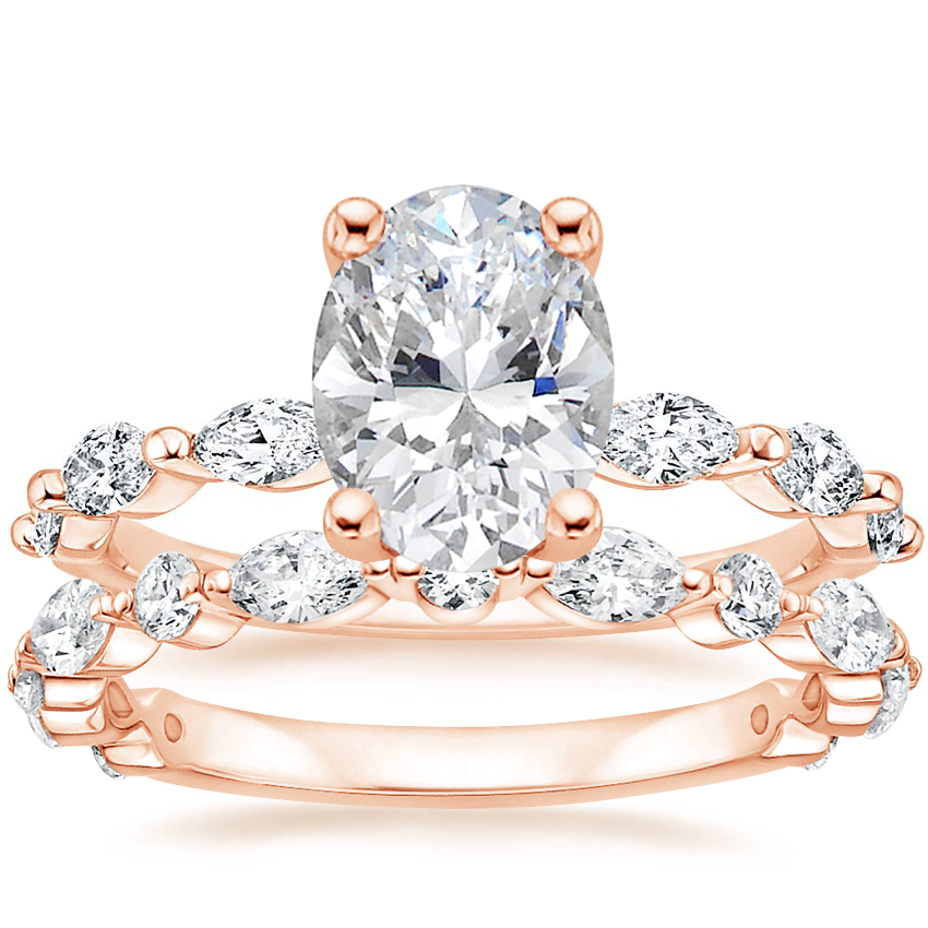 14K Rose Gold Joelle Diamond Ring (1/3 ct. tw.) with Luxe Versailles Diamond Ring (1/2 ct. tw.)