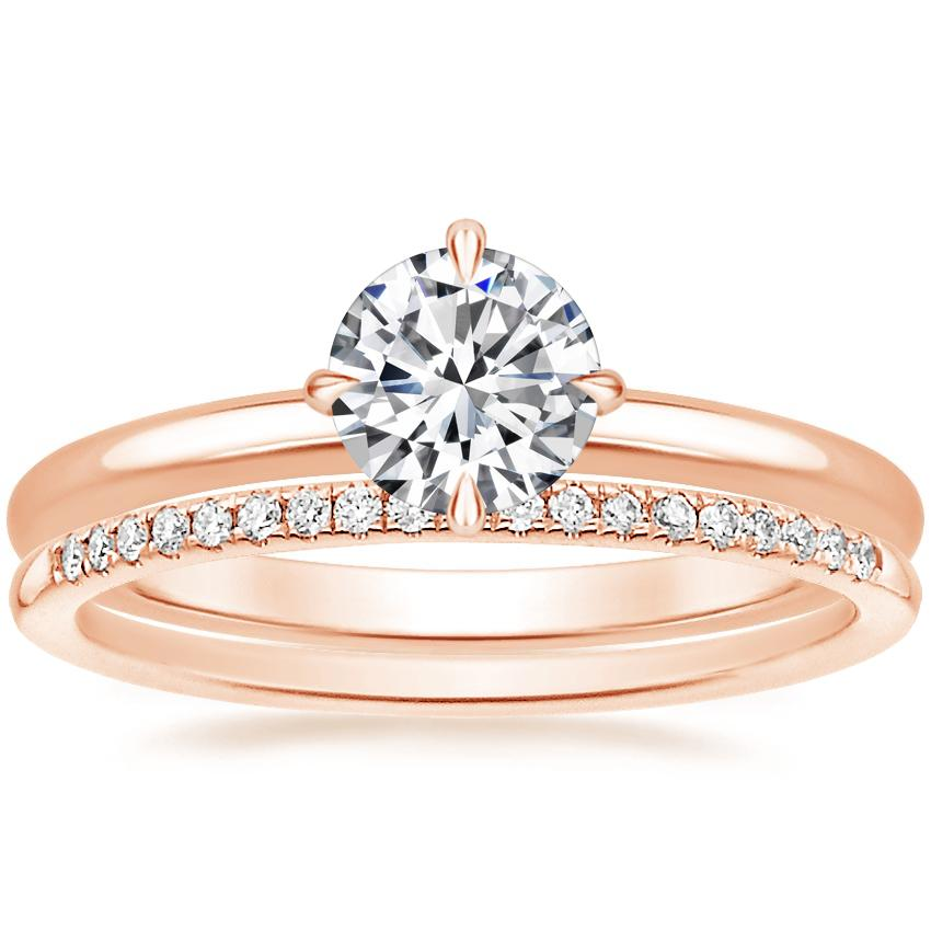 14K Rose Gold North Star Ring with Whisper Diamond Ring (1/10 ct. tw.)