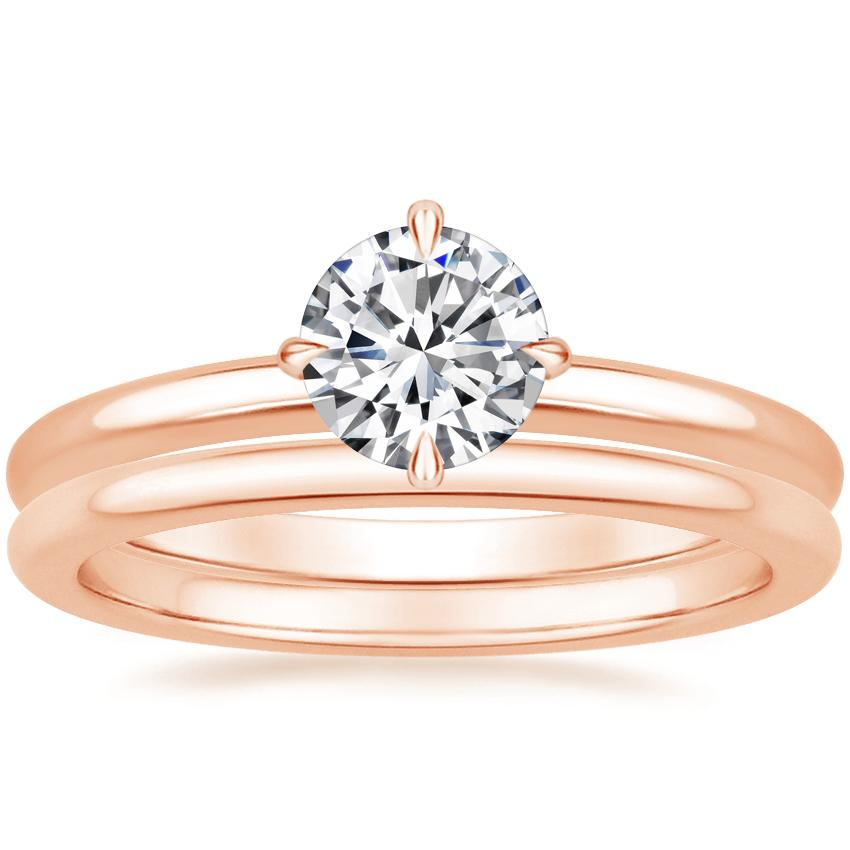 14K Rose Gold North Star Ring with Petite Comfort Fit Wedding Ring