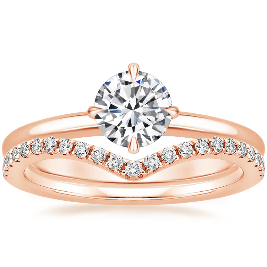 14K Rose Gold North Star Ring with Flair Diamond Ring (1/6 ct. tw.)
