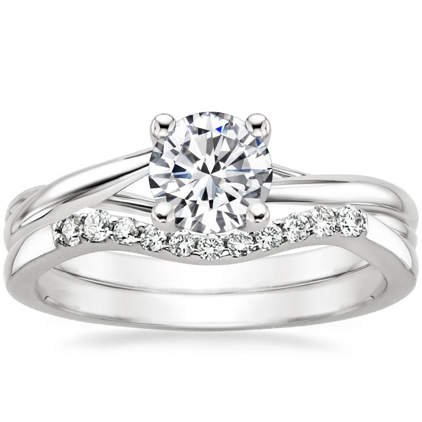 18K White Gold Grace Ring with Chamise Contoured Diamond Ring (1/10 ct. tw.)