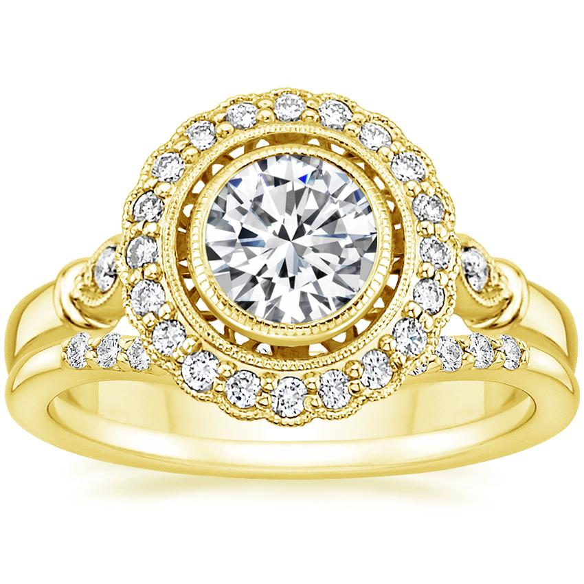 18K Yellow Gold Bella Diamond Ring with Petite Curved Diamond Ring