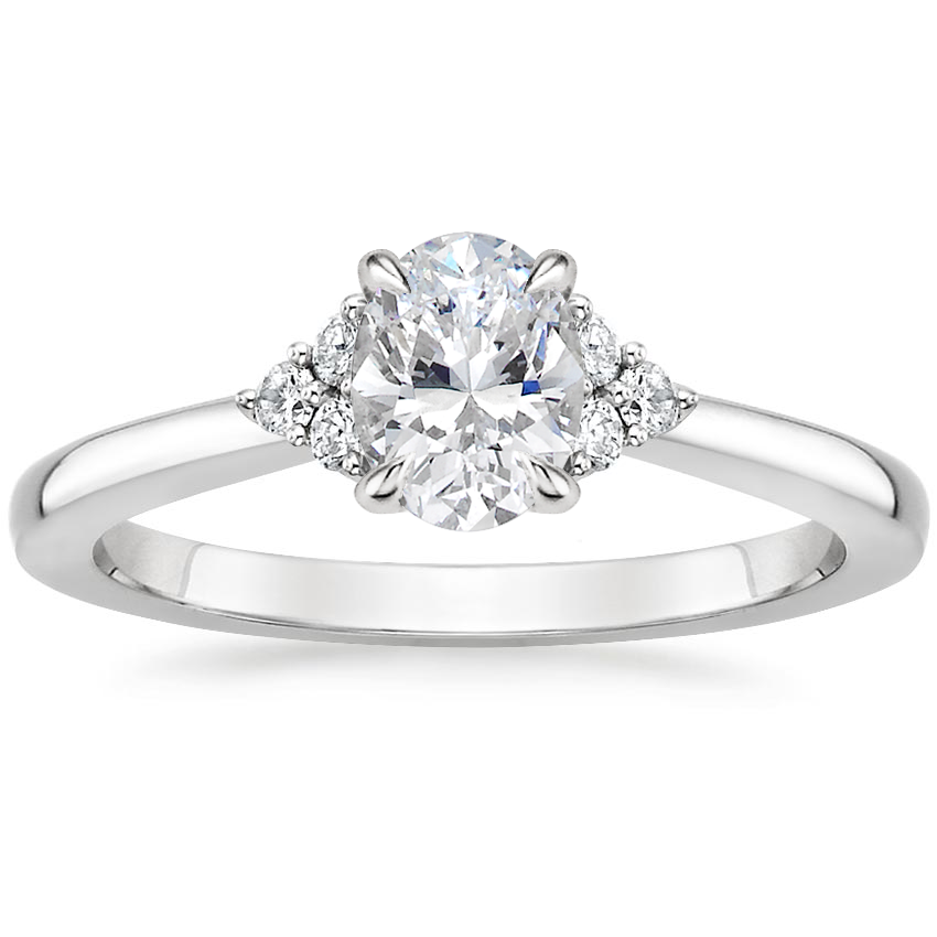 Oval Platinum Melody Diamond Ring