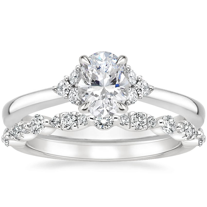 18K White Gold Melody Diamond Ring with Odette Diamond Ring (1/4 ct. tw.)