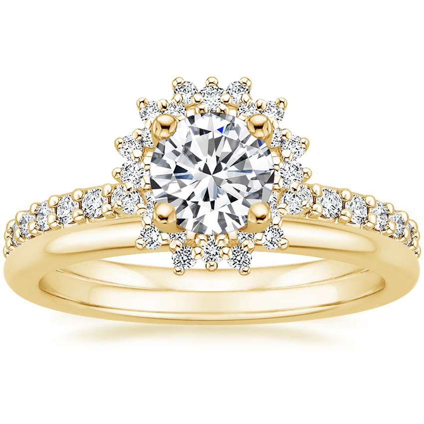 18K Yellow Gold Twilight Diamond Ring with Petite Comfort Fit Wedding Ring