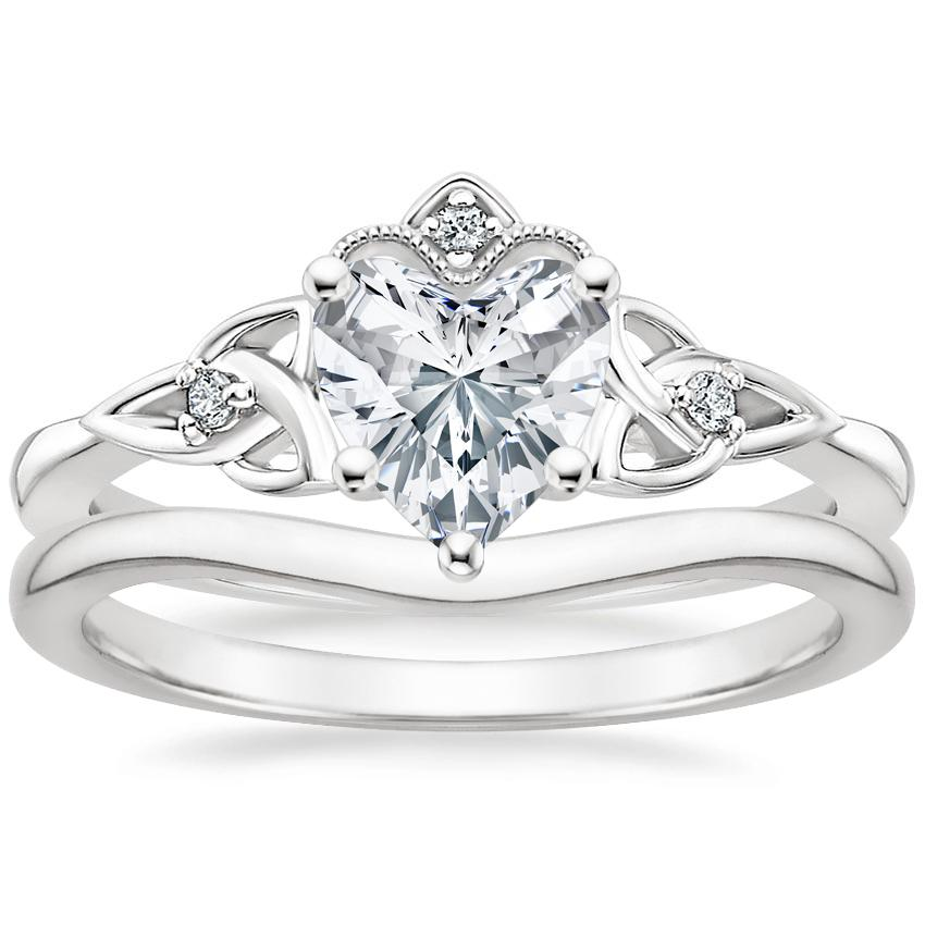 18K White Gold Celtic Crown Diamond Ring with Petite Curved Wedding Ring