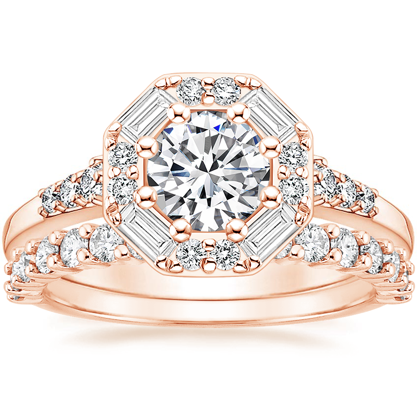 14K Rose Gold Octavia Diamond Ring with Shared Prong Diamond Ring (2/5 ct. tw.)