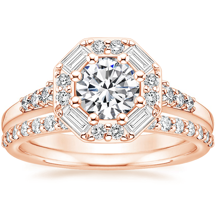 14K Rose Gold Octavia Diamond Ring with Petite Shared Prong Diamond Ring (1/4 ct. tw.)