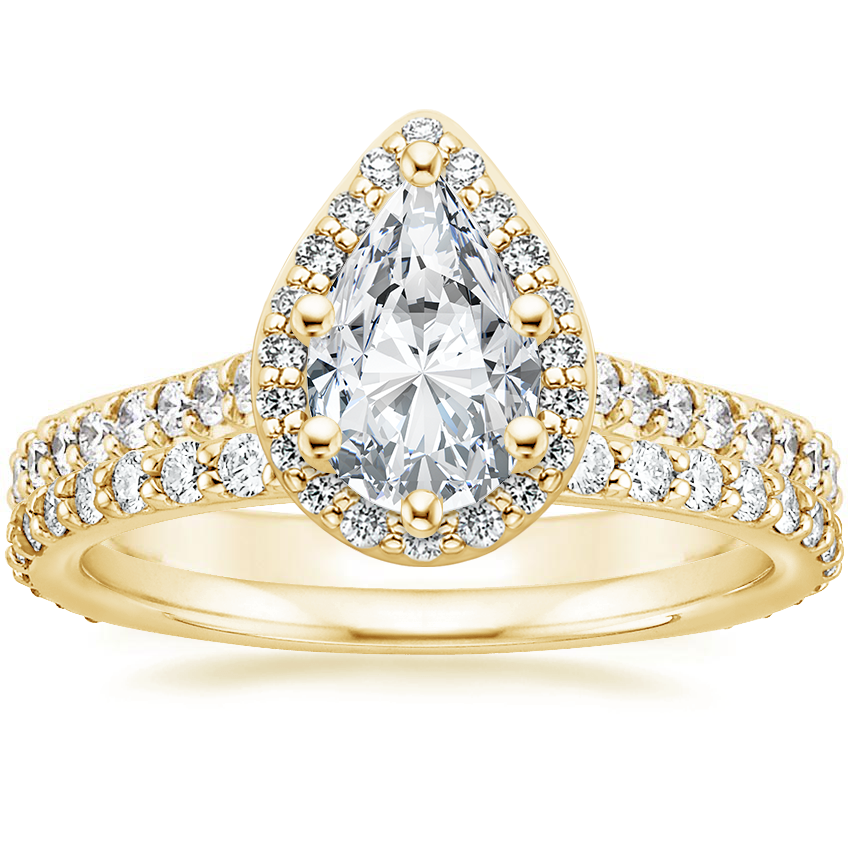 18K Yellow Gold Fancy Halo Diamond Ring with Side Stones (2/5 ct. tw.) with Petite Shared Prong Eternity Diamond Ring (1/2 ct. tw.)
