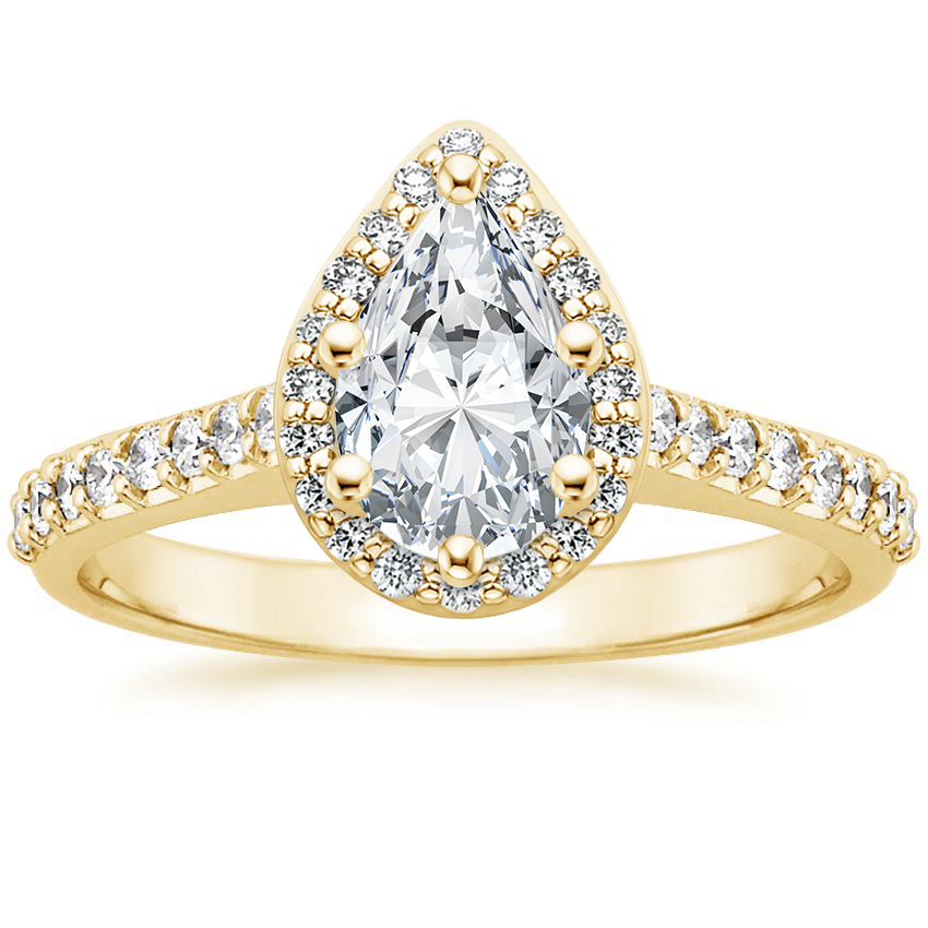 Pear 18K Yellow Gold Fancy Halo Diamond Ring with Side Stones (1/3 ct. tw.)