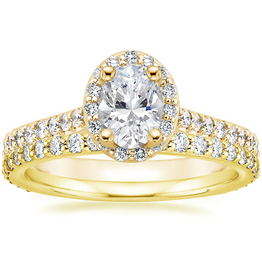 18K Yellow Gold Fancy Halo Diamond Ring with Side Stones (2/5 ct. tw.) with Luxe Petite Shared Prong Diamond Ring (3/8 ct. tw.)