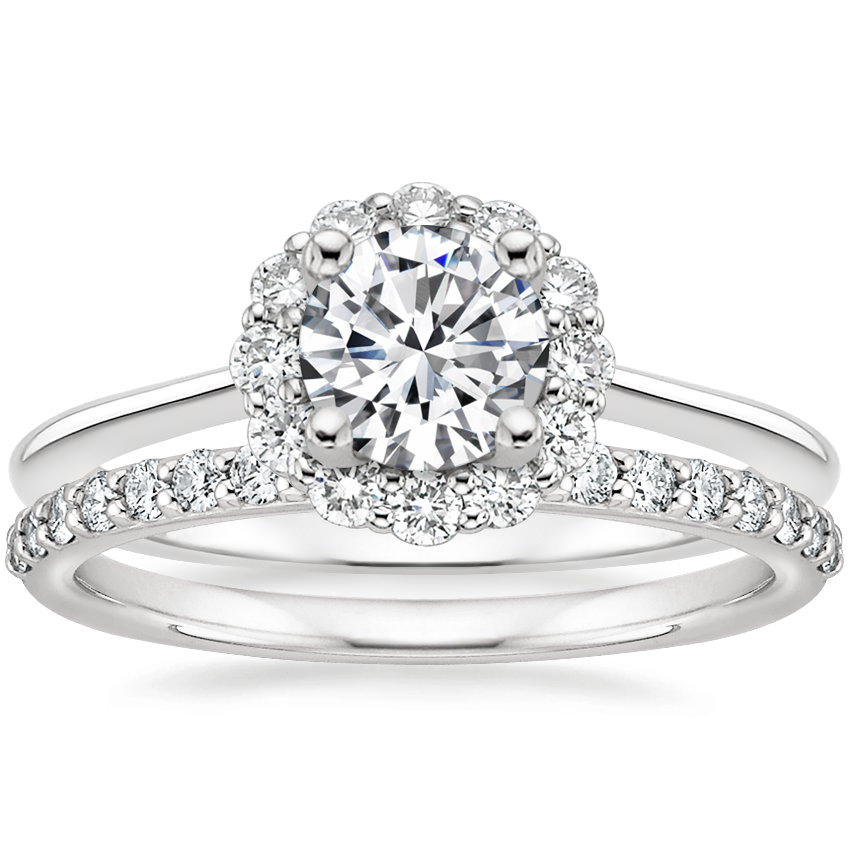 18K White Gold Calla Diamond Ring (1/3 ct. tw.) with Petite Shared Prong Diamond Ring (1/4 ct. tw.)