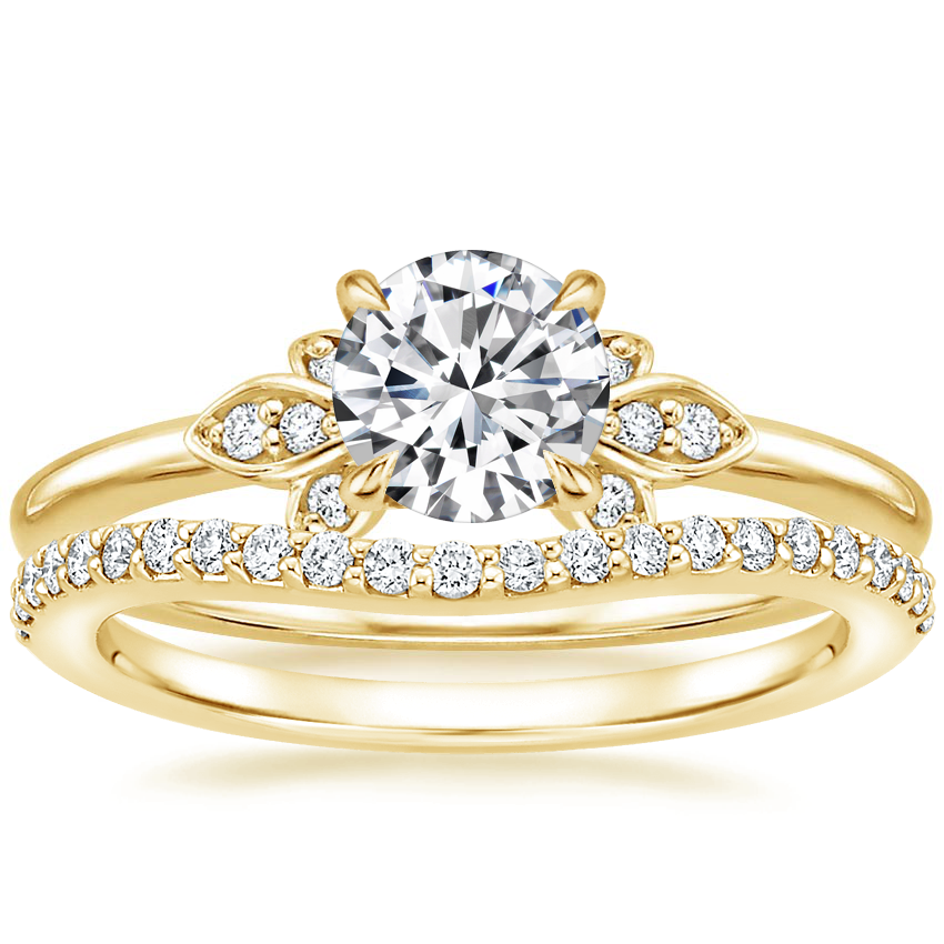 18K Yellow Gold Fiorella Diamond Ring with Curved Diamond Ring (1/6 ct. tw.)