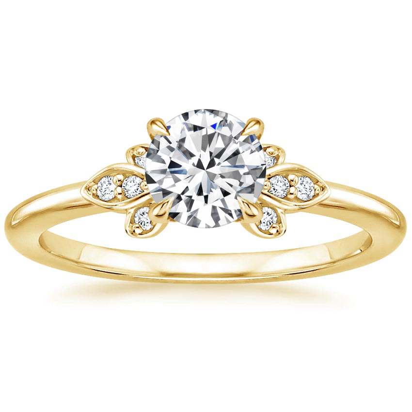 Round 18K Yellow Gold Fiorella Diamond Ring