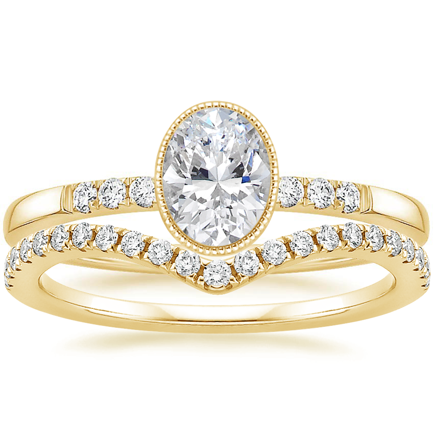 18K Yellow Gold Imogen Diamond Ring with Flair Diamond Ring (1/6 ct. tw.)