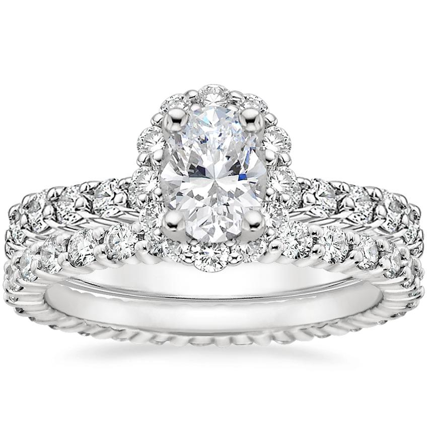 18K White Gold Lotus Flower Diamond Ring with Side Stones with Shared Prong Eternity Diamond Ring (7/8 ct. tw.)