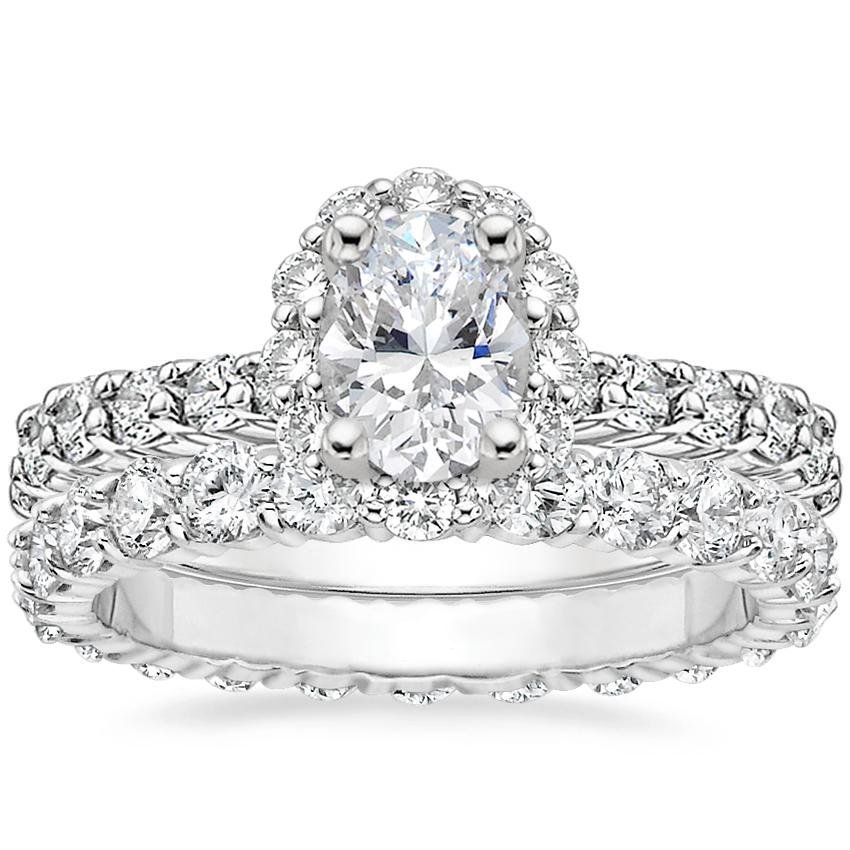 18K White Gold Lotus Flower Diamond Ring with Diamond Eternity Ring (1 1/3 ct. tw.)