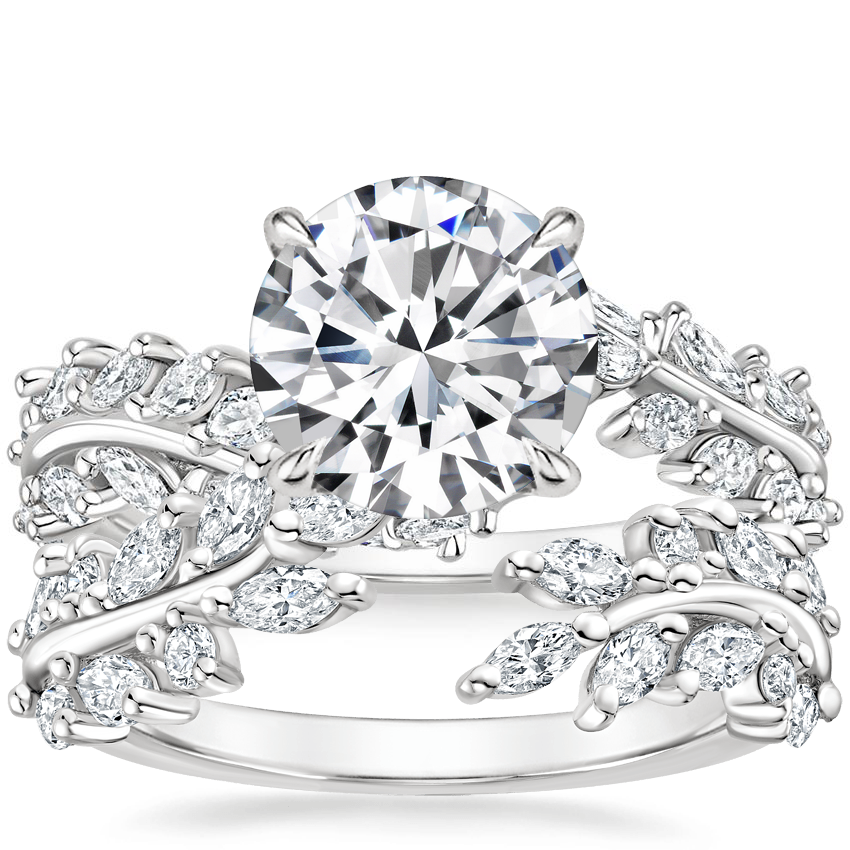 Platinum Winding Ivy Diamond Ring (3/4 ct. tw.) with Sweeping Ivy Diamond Ring (1/2 ct. tw.)