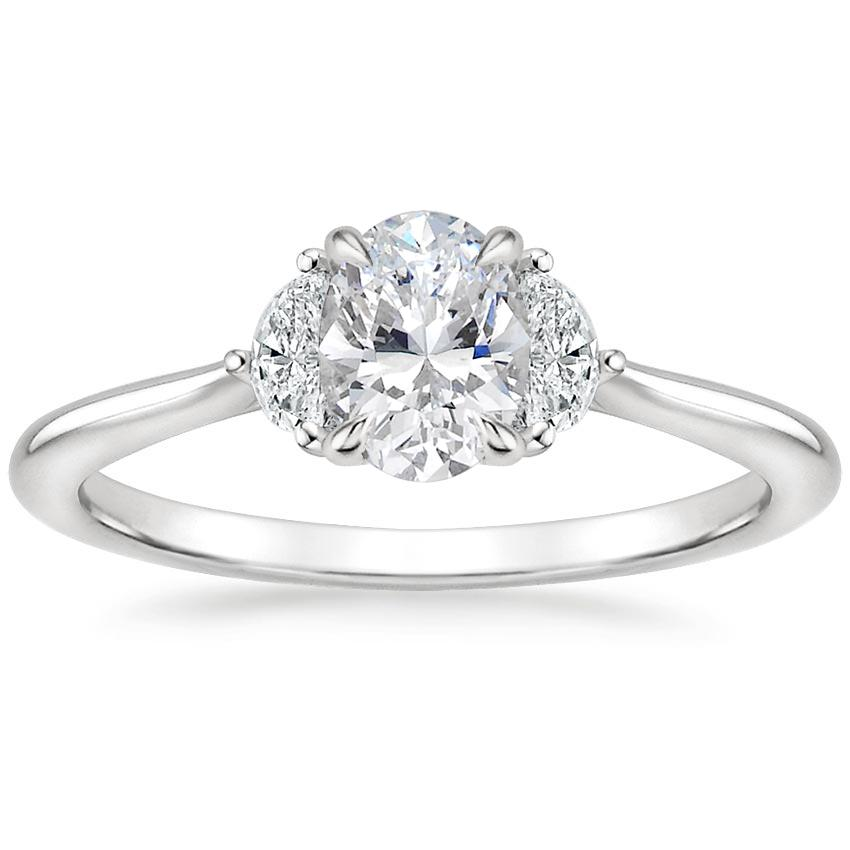 Oval Half Moon Diamond Ring
