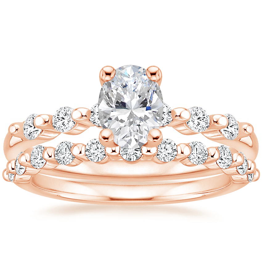 14K Rose Gold Petite Marseille Diamond Ring (1/6 ct. tw.) with Marseille Diamond Ring (1/3 ct. tw.)