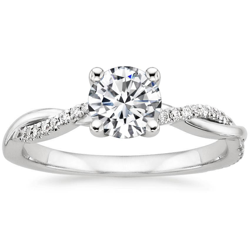 Platinum Petite Twisted Vine Diamond Ring, top view