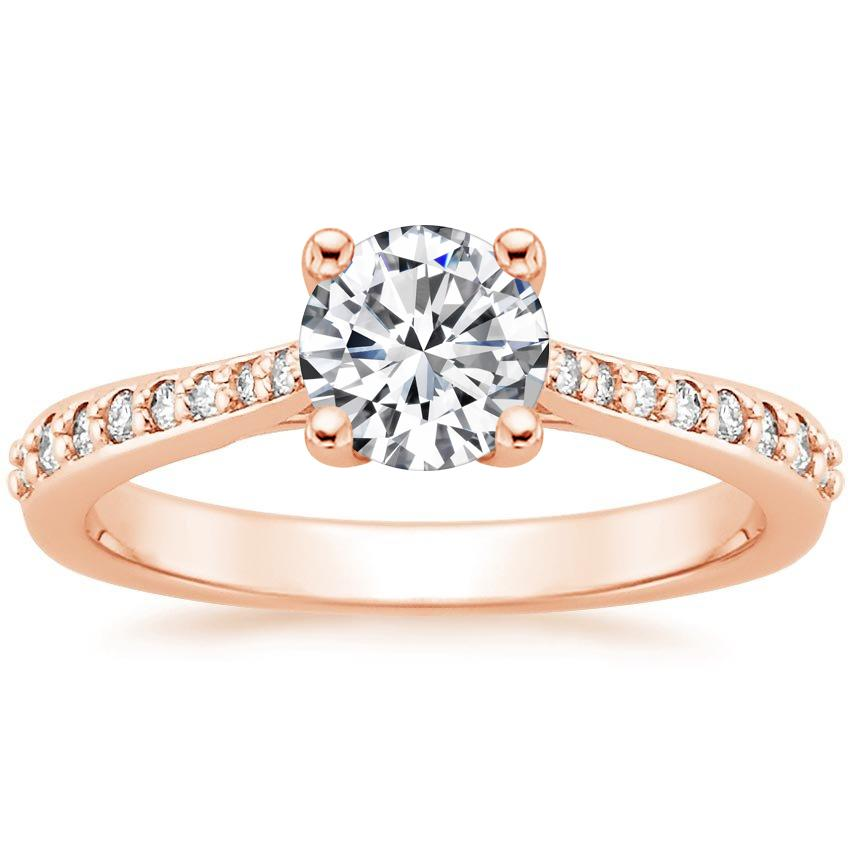 Round 14K Rose Gold Geneva Diamond Ring