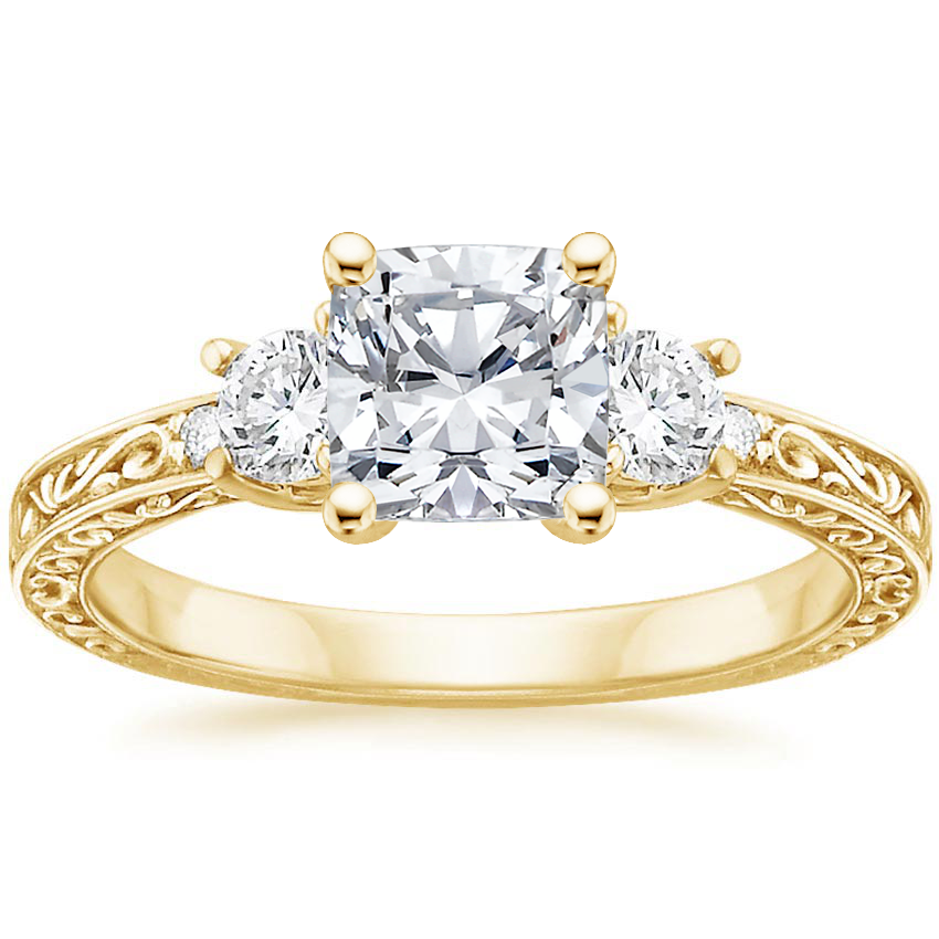 Cushion 18K Yellow Gold Antique Scroll Three Stone Trellis Diamond Ring (1/3 ct. tw.)