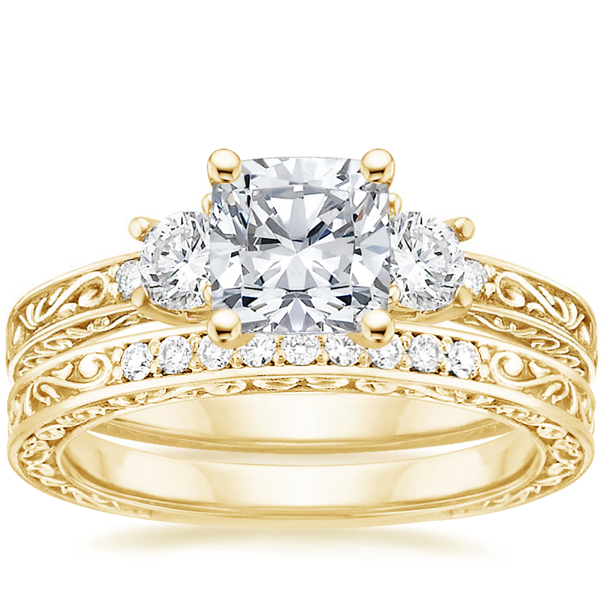 18K Yellow Gold Antique Scroll Three Stone Trellis Diamond Ring (1/3 ct. tw.) with Delicate Antique Scroll Diamond Ring (1/15 ct. tw.)