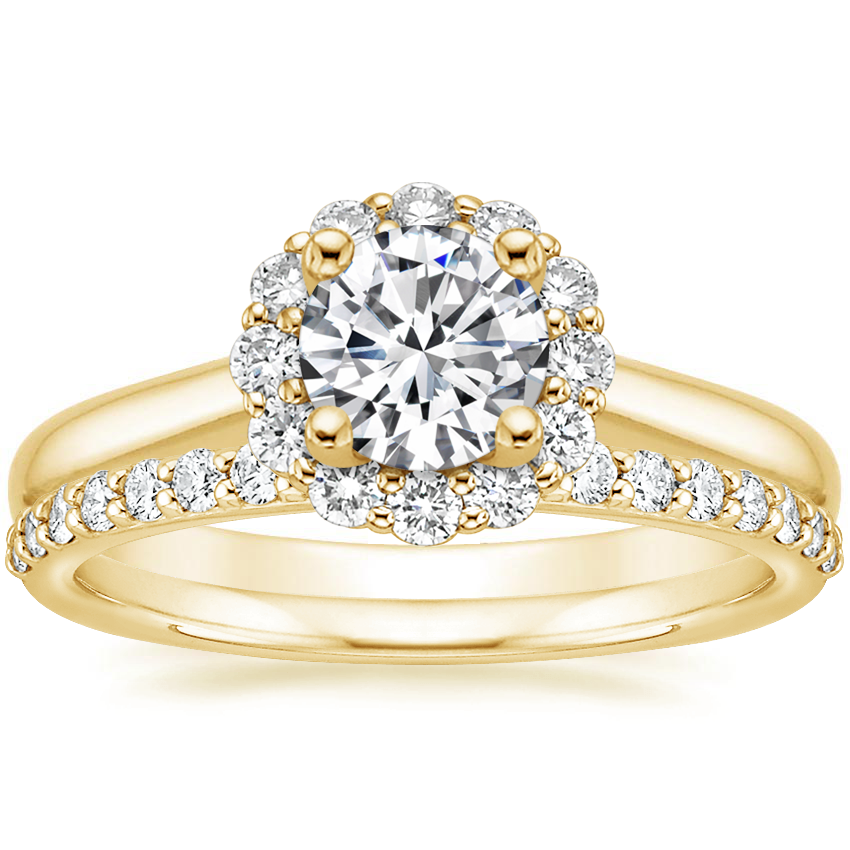 18K Yellow Gold Lotus Flower Diamond Ring (1/3 ct. tw.) with Petite Shared Prong Diamond Ring (1/4 ct. tw.)