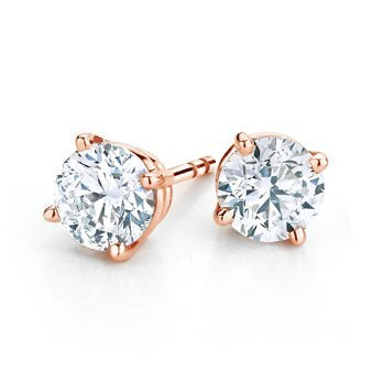 14K ROSE GOLD ROUND 4 PRONG DIAMOND STUD EARRINGS 05f1529176