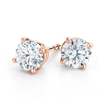 f6efe4f37 14K ROSE GOLD ROUND 4 PRONG DIAMOND STUD EARRINGS