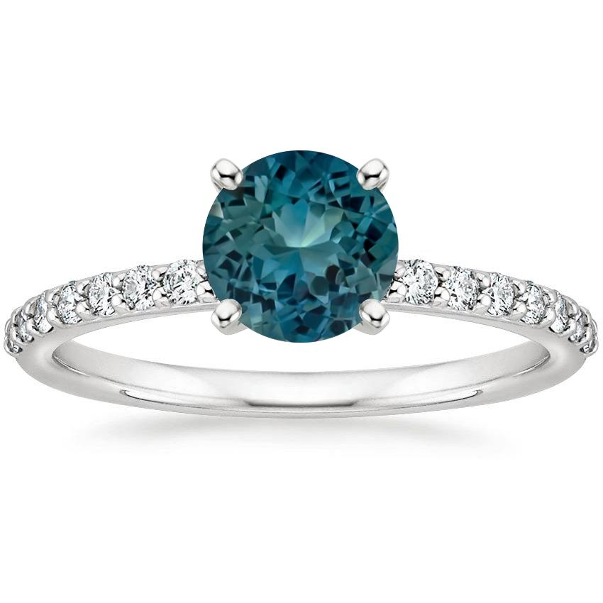 Top Twenty Sapphire Rings - SAPPHIRE PETITE SHARED PRONG DIAMOND RING (1/4 CT. TW.)