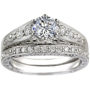 Art Deco Filigree Diamond Ring with Contoured Delicate Antique Scroll Ring (1/3 ct.tw.)