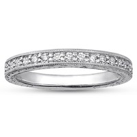 Engraved Pavé Milgrain Diamond Ring