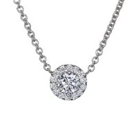 18K White Gold Diamond Halo Necklace