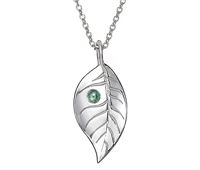 Silver Leaf Pendant with Ethically Sourced Green Sapphire