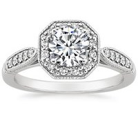 Top Engagement Rings - Victorian Halo Diamond Ring