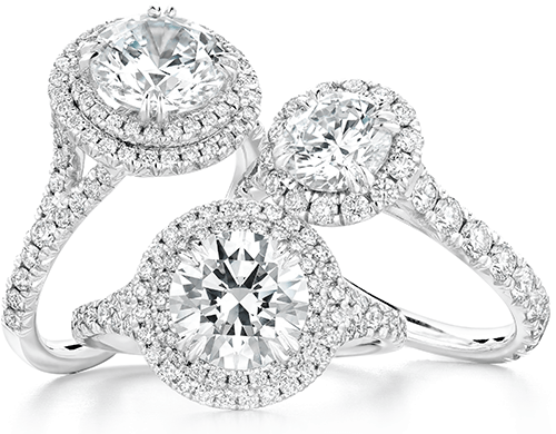 Three dazzling halo engagement rings with diamond accents