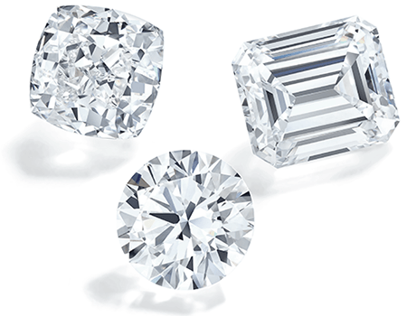 Cushion cut, round, and emerald cut diamonds