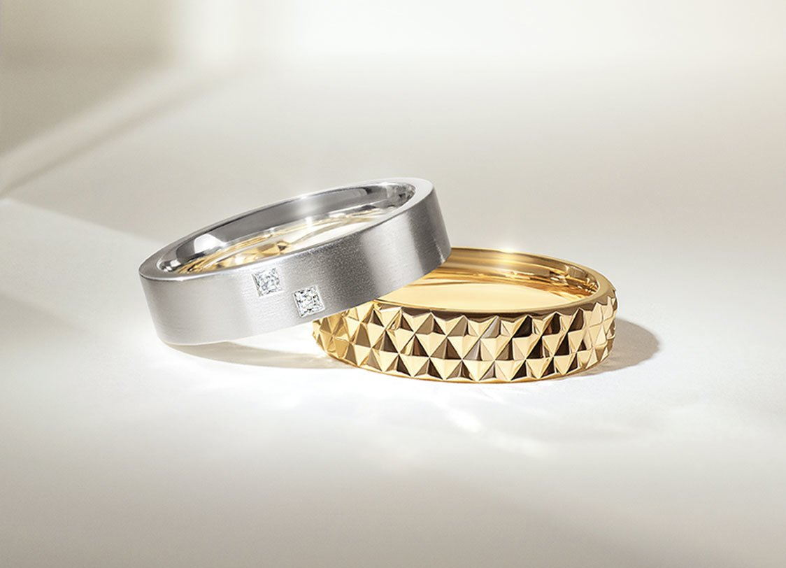 stack of lustrous white gold and yellow gold rings for everyone