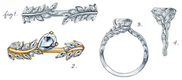 Intricately detailed sketches of nature inspired rings.